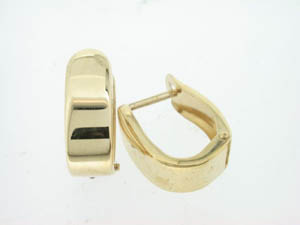 Ladies Yellow Gold Shiny Flat Rectangle Huggies.