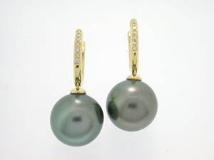 Ladies 18ct Yellow Gold Tahitian Pearl Diamond Set Drop Huggies.