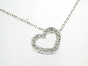 Ladies 18ct White Gold Open Heart Pendant.