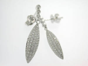Ladies 18ct White Gold Drop Marquise Shape Pave Studs.