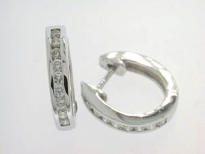 Ladies 18ct White Gold Channel Set Hoops.