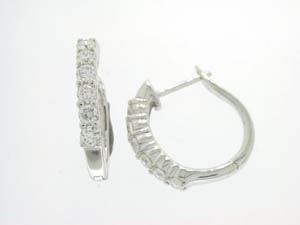 Ladies 18ct White Gold Diamond 4 Claw Set Hoops.