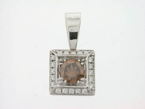 Ladies 18ct White Gold Cognac and Diamond Pendant.