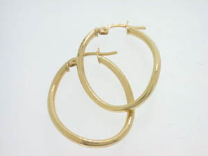 Ladies 9ct Yellow Gold Curved Oval Hoops.