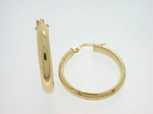 Ladies 9ct Yellow Gold Polished Round Hoops.