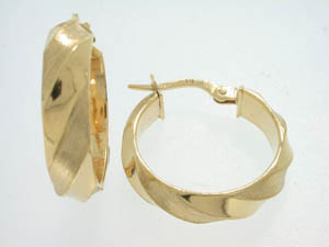 Ladies 9ct Yellow Gold Satin Twist Hoops.