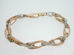 Ladies 9ct Rose and White Gold Bracelet.