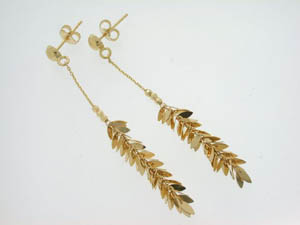 Ladies 18ct Yellow Gold Chain Drop Earrings.