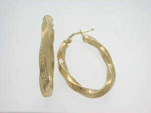 Ladies 9ct Yellow Gold Satin Hoops Greek Key Design.