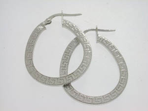 Ladies 9ct White Gold Greek Key Pattern Hoops.