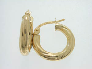 Ladies 9ct Yellow Gold Twist Hoops.