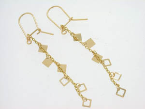 Ladies 18ct Yellow Gold Drop Chain Studs.