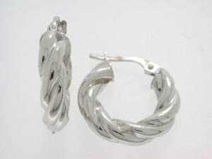 Ladies 18ct White Gold Twist Hoops.