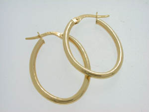 Ladies 9ct Yellow Gold thin plain hoops.