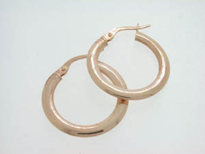 Ladies 9ct Rose Gold Flat Tube Hoops.
