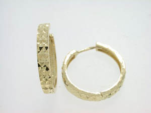 Ladies 9ct Yellow Gold Diamond Cut Huggies.