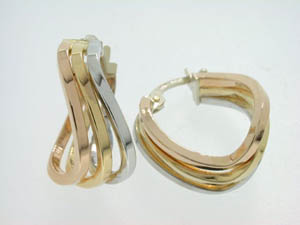Ladies 18ct Tri Tone Open Cut Twist Hoops.