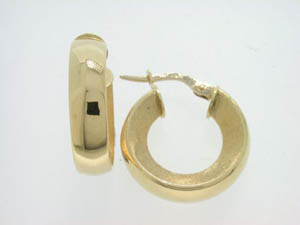 Ladies 18ct Yellow Gold Concave Hoops.