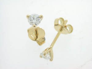 Ladies Handmade 18ct Yellow Gold Diamond Studs.