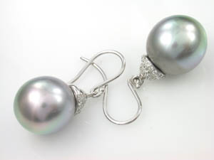 Ladies Autore Tahitian Pearl and Diamond Drop Earrings.