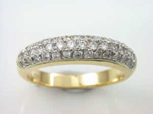 Ladies 18ct YG Dress Ring  Pave Set Round Diamonds