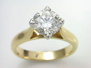 Ladies 18ct YG 1.51 ct Diamond Solitare Dress Ring