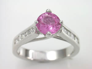 Ladies 18ct White Gold Diamond & Pink Sapphire Ring.