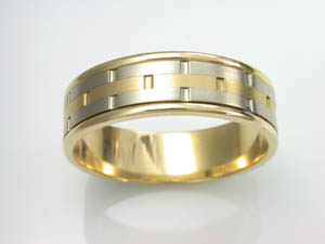 Mens 18ct two tone  Wedding Ring