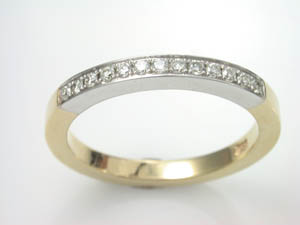 Ladies 18ct Two Tone Handmade Wedding Ring T.D.W.=0.15ct