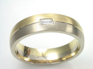 Mens 18ct two tone Satin finish wedding ring  4x2mm Baguette Dia