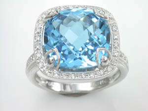 Ladies 18ct white gold dress ring  Blue Topaz   & pave set Diamo