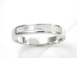 Ladies Diamond Set Wedding Band Princess and Baguettes.