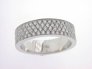 Ladies 18ct White Gold 4 Row Pave Set Band.