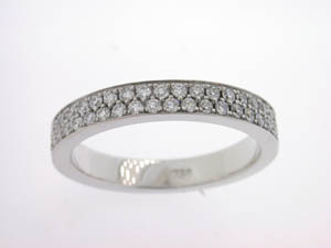 Ladies 18ct White Gold Diamond Pave Set Band.