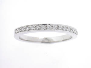Ladies 18ct White Gold Pave Set Wedding Band.
