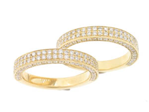 Pair of Ladies 18ct Yellow Gold Diamond Pave Set Wedders.