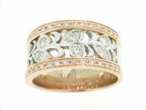 Ladies 18ct Rose and White Gold Pave Set Dress Ring.