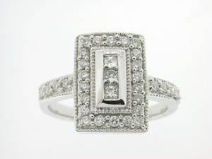 Ladies 18ct White Gold Diamond Dress Ring.