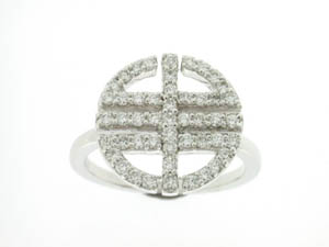 Ladies 18ct White Gold Pave Set Long Life Dress Ring.