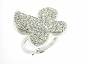Ladies 18ct White Gold Butterfly Pave Set Ring.