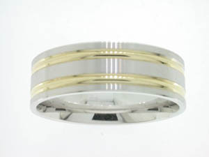 Gents 9ct Yellow and White Gold Ring 5 Bar Design.