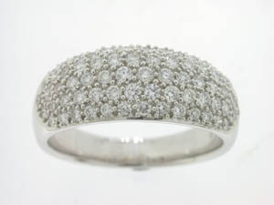 Ladies 18ct White Gold Pave Set Dress Ring.