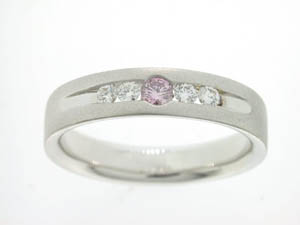 Ladies 18ct White Gold Pink and White Diamond Ring.